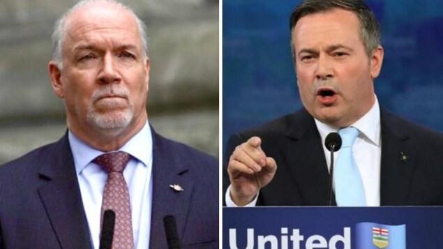 Un collage photo. À gauche, un homme aux cheveux blancs. À droite, un homme brun qui pointe son doigt devant lui.