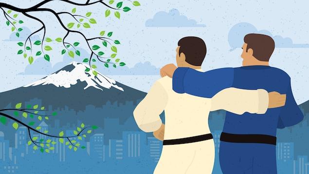 Un dessin montrant deux athlètes bras dessus, bras dessous devant le mont Fuji.