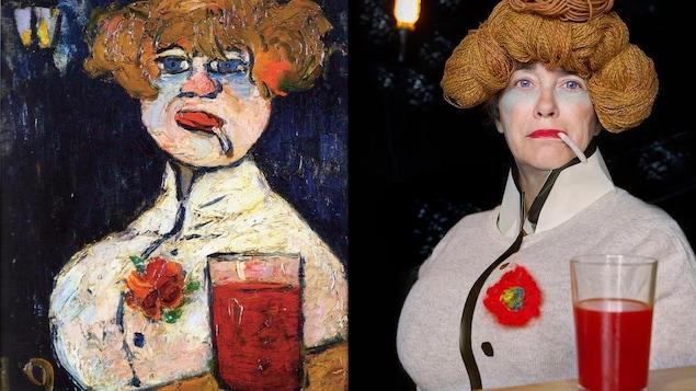 """Catherine Arsenault, à droite, modèle dans l'interprétation d'une oeuvre de Maurice de Vlaminck intitulée """"Le zinc"""""""