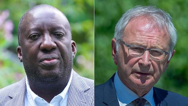 Montage de deux photos du docteur Ngola et du premier ministre Higgs.