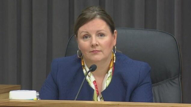 La Dre Jennifer Russell lors d'un point de presse sur la COVID-19 au Nouveau-Brunswick, le 12 octobre 2021.