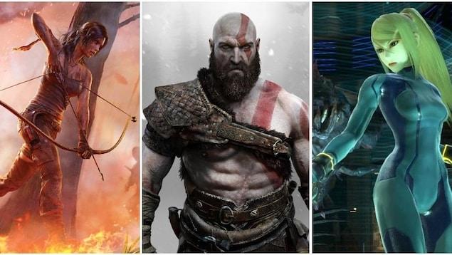 Lara Croft de la série Tomb Raider, Kratos de la série God of War et Samus Aran de la série Metroid.