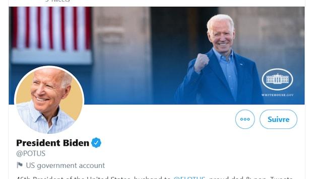 Capture d'écran du compte Twitter @POTUS, montrant des photos de Joe Biden souriant.