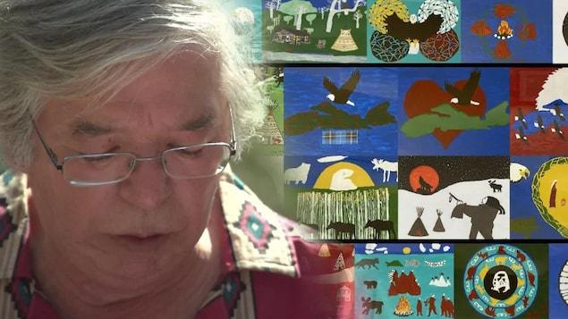 L'artiste Joe Michael et un montage de plusieurs de ses oeuvres.
