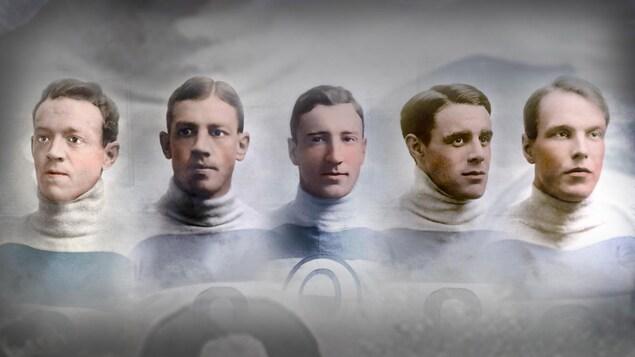 Montage photo en couleur représentant les joueurs des Bulldogs de Québec Jack McDonald, Joe Hall, Tommy Smith, Joe Malone et Paddy Moran.