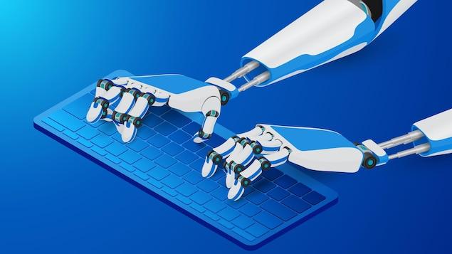 Des mains robotisées tapent sur un clavier d'ordinateur.