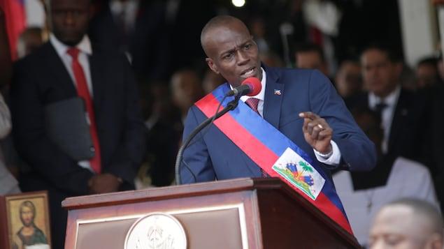 Le nouveau président d'Haïti Jovenel Moïse lors de son discours d'inauguration