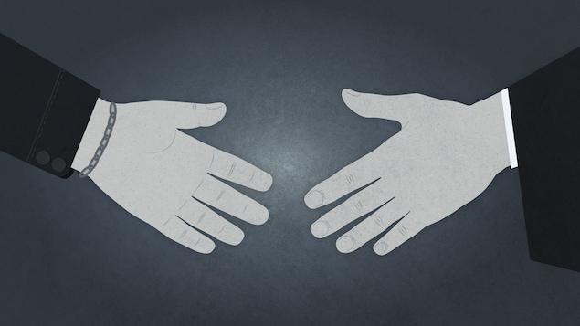 Illustration d'une main de juge et une main d'accusé qui s'apprêtent à se serrer la main.