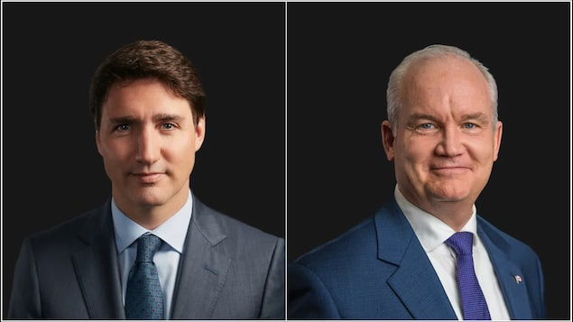 Portraits of Liberal Leader Justin Trudeau, left, and Conservative Party of Canada Leader Erin O'Toole, right.