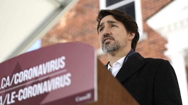 Le premier ministre Justin Trudeau lors de son plus récent point de presse sur la pandémie.