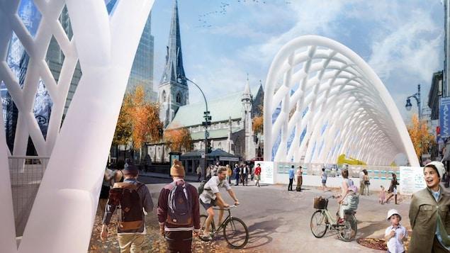 Proposition lauréate de la firme Kanva pour la mise en valeur du chantier de la rue Sainte-Catherine Ouest.