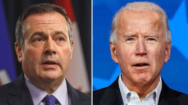 De gauche à droite : Jason Kenney et Joe Biden.
