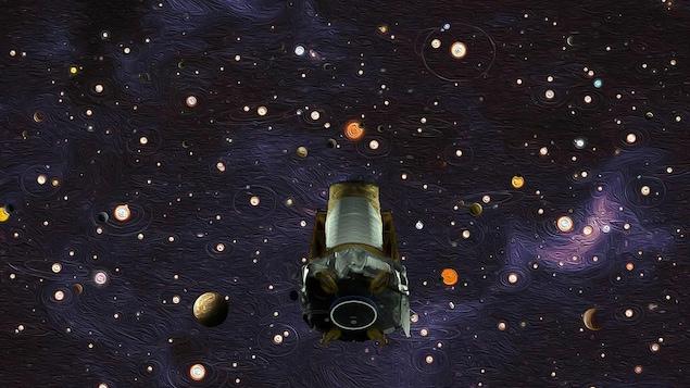 Représentation d'artiste du télescope Kepler dans l'espace, vaguement inspirée de la de la Nuit étoilée de Vincent van Gogh.