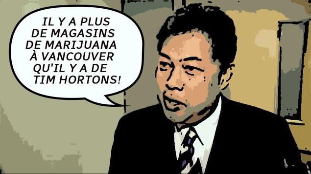 Citation sur image de Kerry Jang (transformée en dessin): il y a plus de magasins de marijuana à Vancouver qu'il y a de Tim Hortons!