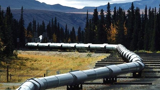 Le pipeline Keystone traverse un terrain montagneux avec des arbres.
