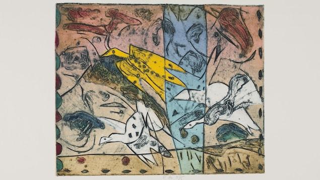 Une œuvre colorée où l'on voit des silhouettes d'oiseaux en vol qui se croisent et se superposent.