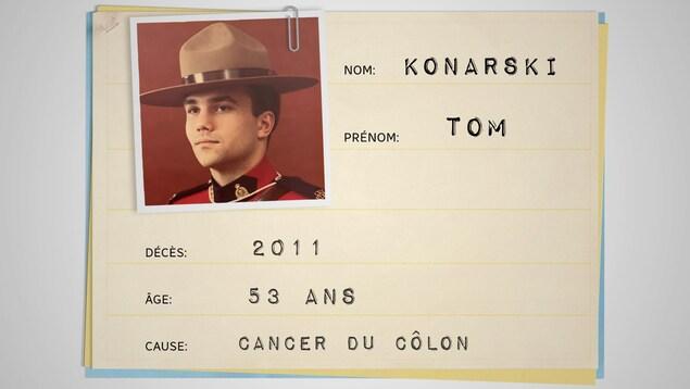 Fiche médicale ayant les informations suivantes : Nom : Tom Konarski; Décès : 2011; Âge : 53 ans; Cause: Cancer du côlon
