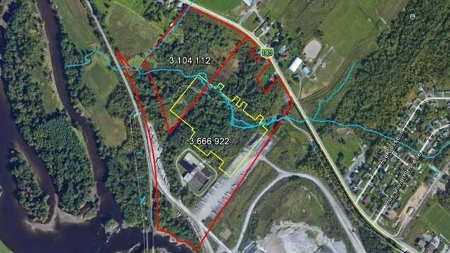 Vue satellite du site de la future usine de Kruger, à Sherbrooke.