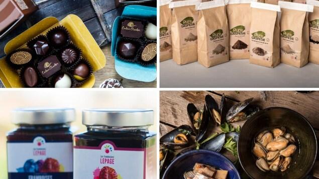 On voit du chocolat, du café, des pots de confitures et des moules dans un bol. Tous sont des produits de la Gaspésie et des Îles-de-la-Madeleine.