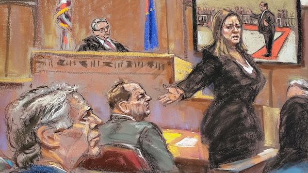 Dessin reproduisant une scène dans un tribunal