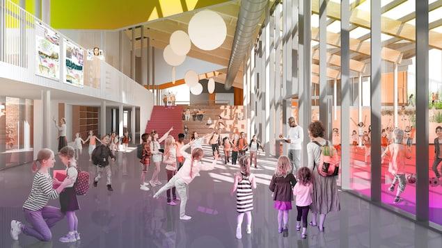 Dessin d'architecte d'enfants qui circulent dans le couloir d'une école.