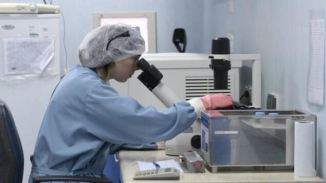 Une chercheure qui consacre son travail à l'étude du VIH regarde dans un microscope.