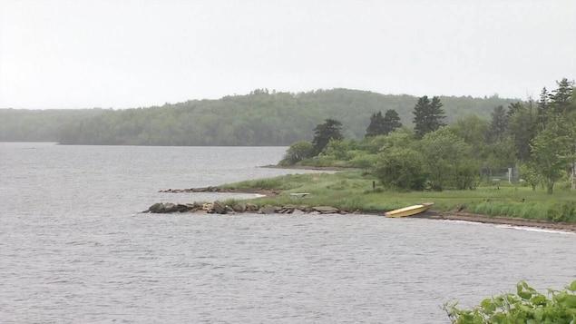 Un lac en été et une barque jaune sur le rivage.
