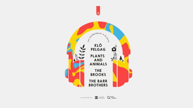 Une affiche grise, avec des dessins bleus et orange d'un casque d'écoute et des groupes de musique inscrits : Klo Pelgag, Plants and animals, The Brooks, The Barr Brothers.