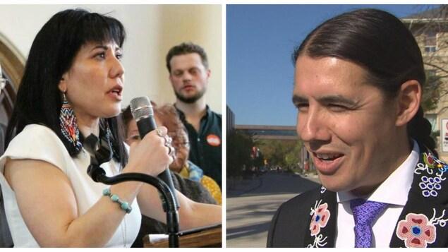Une photo de la candidate du Nouveau Parti démocratique, Leah Gazan, tenant un micro et la photo du candidat du Parti libéral, Robert-Falcon Ouellette.