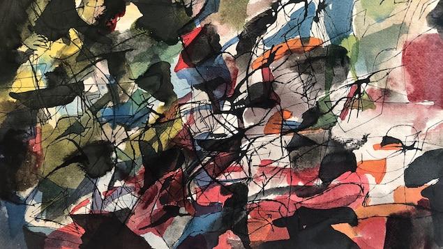 Aquarelle et encre sur papier peinte en 1948 par Jean Paul Riopelle