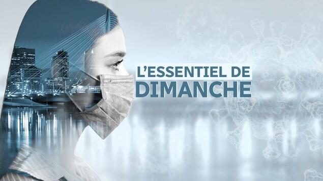 Une image concept sur le thème du coronavirus montre une jeune femme de profil. Elle porte un masque et dans sa tête se profile une vue du centre-ville de Winnipeg.