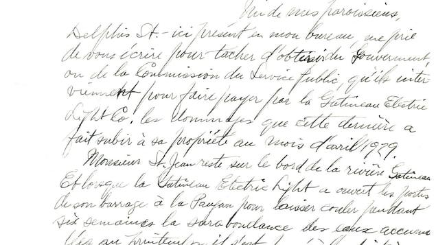 Une lettre rédigée à la main en 1930.
