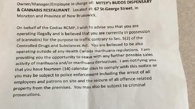 Extrait de la lettre en anglais envoyée à des dispensaires de cannabis.