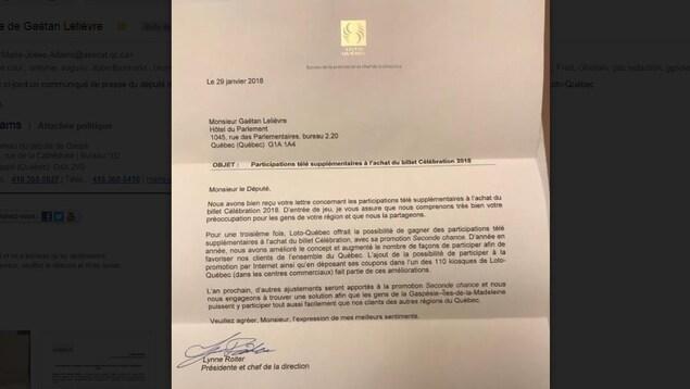 Lettre de Loto-Québec