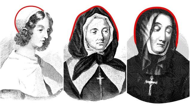 Montage de trois gravures représentant les fondatrices de Montréal