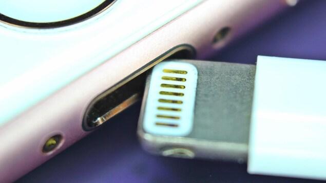 Un gros plan sur le port Lightning d'un iPhone. Un câble Lightning est en train d'être inséré dans le téléphone.