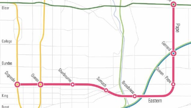 Le tracé de la ligne de la nouvelle ligne de métro à Toronto