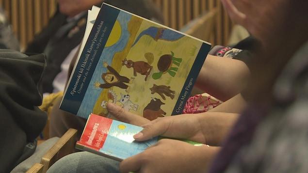 Une personne feuilletant un livre pour enfants.