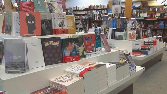 Des rangées de livres à la librairie Les Bouquinistes dans l'arrondissement de Chicoutimi