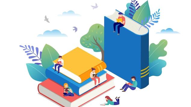 Des personnes petites lisent des livres en étant assises sur des livres géants.