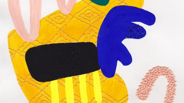 Des formes jaunes, bleues et roses sont brodées sur le papier.