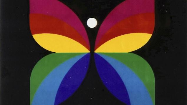 Logo de la Société Radio-Canada illustré par un papillon multicolore.