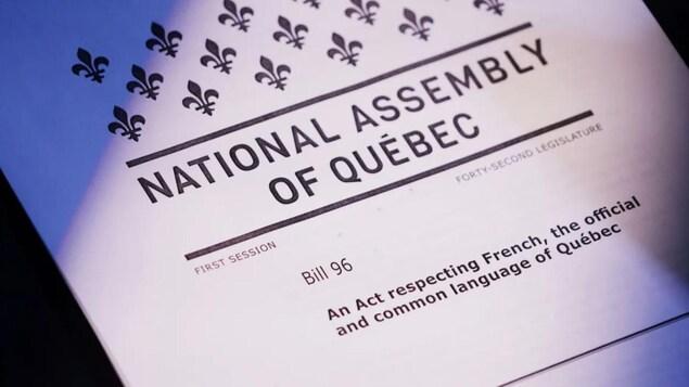 Foto de portada del proyecto de ley 96 de la Asamblea Nacional de Quebec.