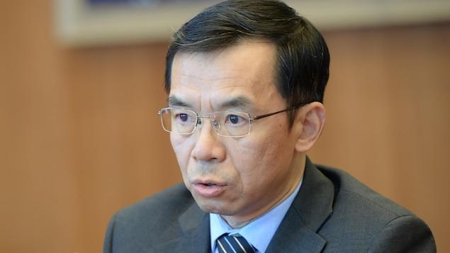 L'ambassadeur de la Chine au Canada, Lu Shaye, lors de la rencontre avec la presse