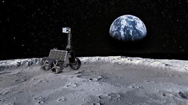Impression artistique de Rashid, le premier rover lunaire des Émirats, sur la surface de la Lune.