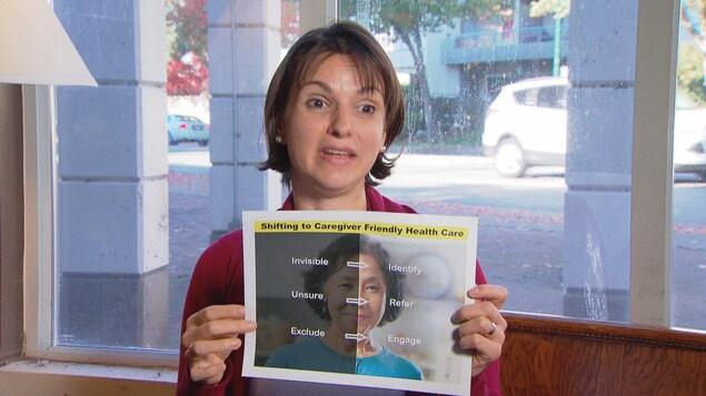 Lycia Rodrigues tient une affiche sur les soins qui doivent être accordés aux personnes aidantes.