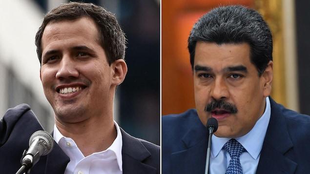 Un montage de deux photos côte à côte: la première montrant un jeune homme souriant derrière un micro et la deuxième montrant un homme moustachu aussi derrière un micro.