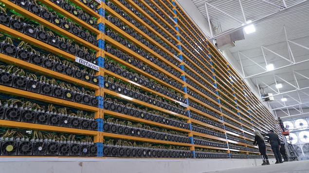 Des techniciens de Bitfarms s'affairent dans son centre de cryptominage à Magog.