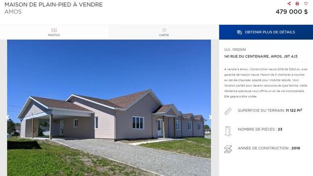 Une annonce de maison à vendre.