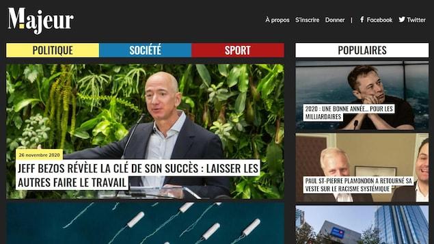 Capture d'écran de la page d'accueil de Majeur.info. Le titre de l'article en une est : « Jeff Bezos révèle la clé de son succès : laisser les autres faire le travail ».